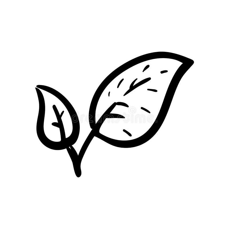 手拉的叶子乱画象 手拉的黑剪影 标志标志 装饰元素 奶油被装载的饼干 查出 平的设计 库存例证