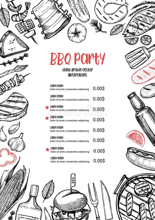 手拉的向量例证 BBQ菜单 烤肉设计elemen 皇族释放例证