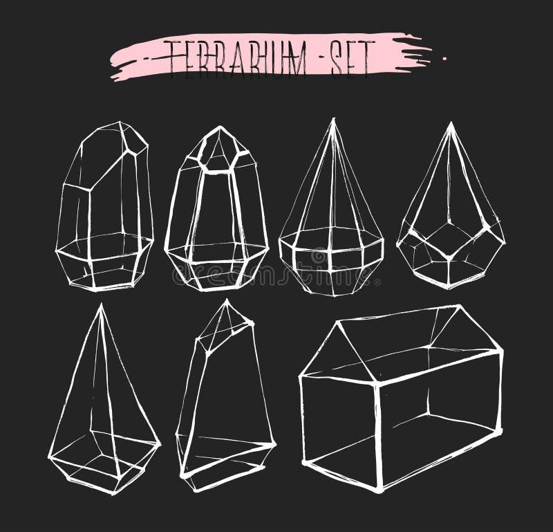 手拉的向量图形线在黑背景隔绝的玻璃玻璃容器汇集集合 从事园艺的设计 库存例证