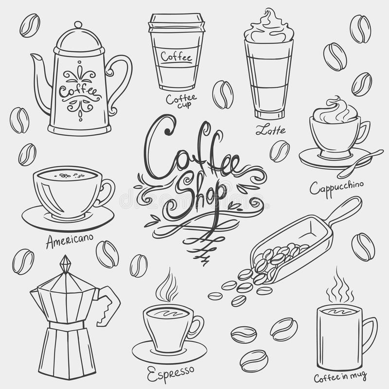 手拉的咖啡乱画 向量例证