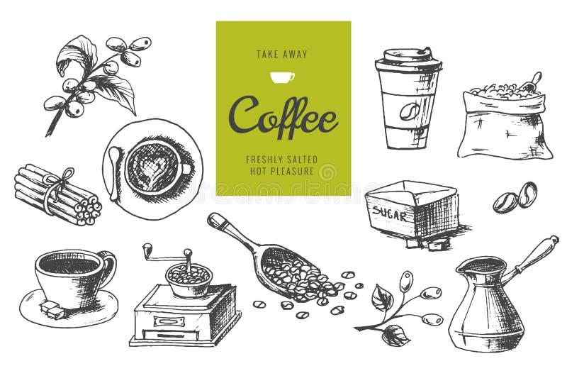 手拉的咖啡例证 线性图表详细的象 皇族释放例证