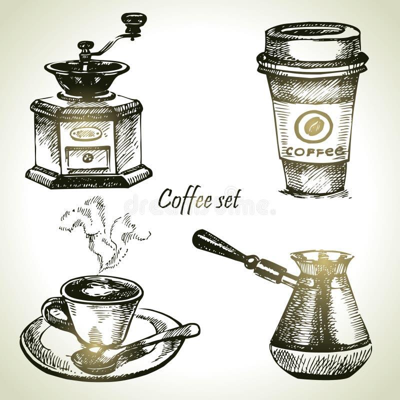 手拉的咖啡具 向量例证