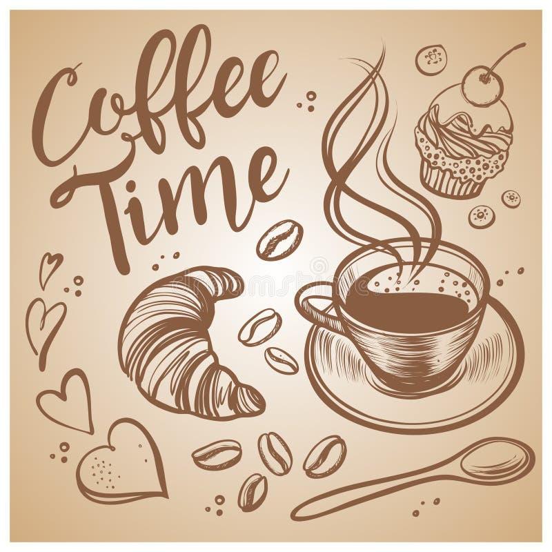 手拉的咖啡时间例证 葡萄酒向量背景 皇族释放例证