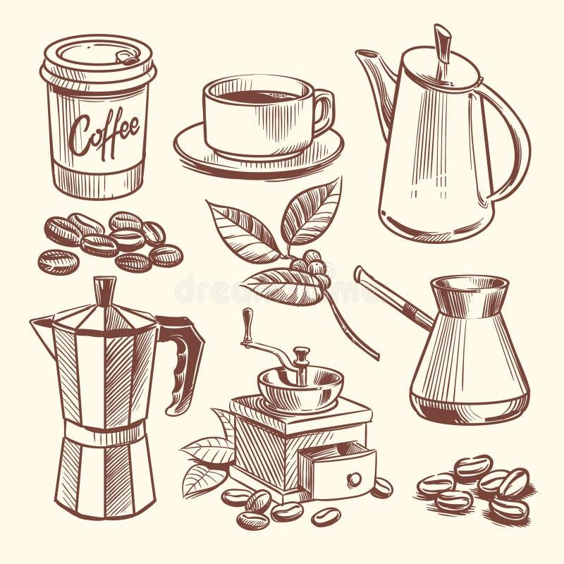 手拉的咖啡杯、豆、叶子、咖啡壶和磨咖啡器导航例证 库存例证