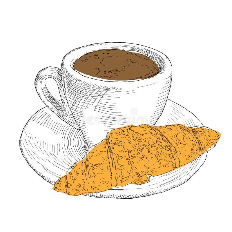 手拉的咖啡杯和新月形面包 葡萄酒lllustration 库存例证