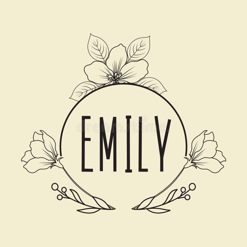 手拉的商标收藏 与花和美丽的字体的商标设计 对于设计师,卖花人,婚礼计划者,摄影师 向量例证