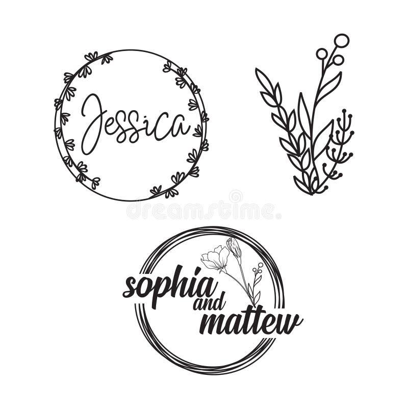 手拉的商标收藏 与花和美丽的字体的商标设计 对于设计师,卖花人,婚礼计划者,摄影师 皇族释放例证
