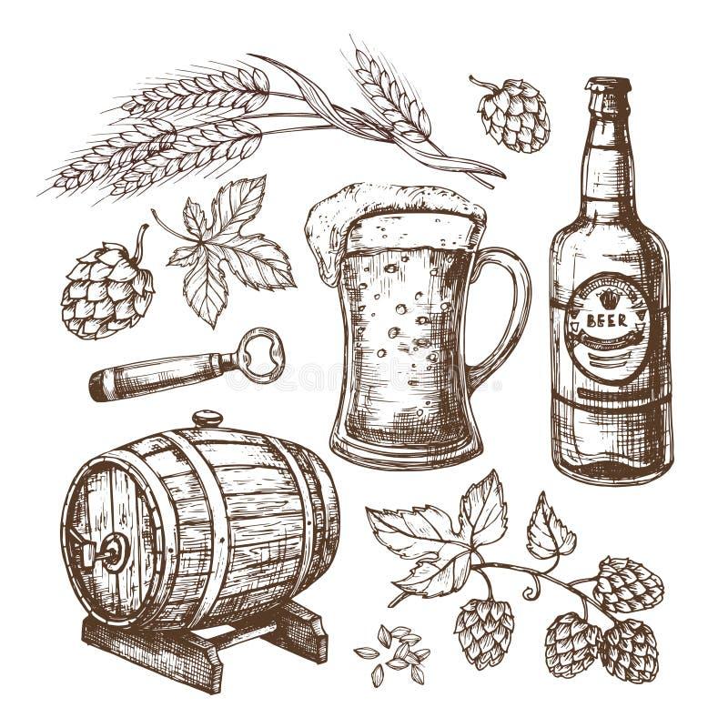 手拉的啤酒杯、桶、麦子和麦芽耳朵,蛇麻草 在板刻样式设置的被隔绝的传染媒介 皇族释放例证