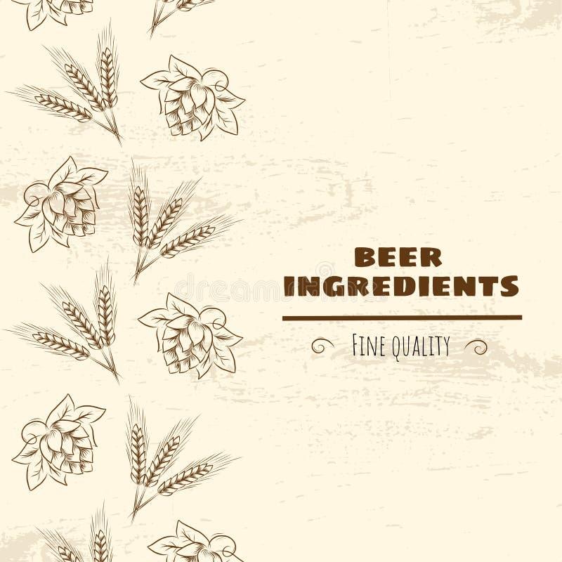 手拉的啤酒花球果树和麦子头概述例证 皇族释放例证
