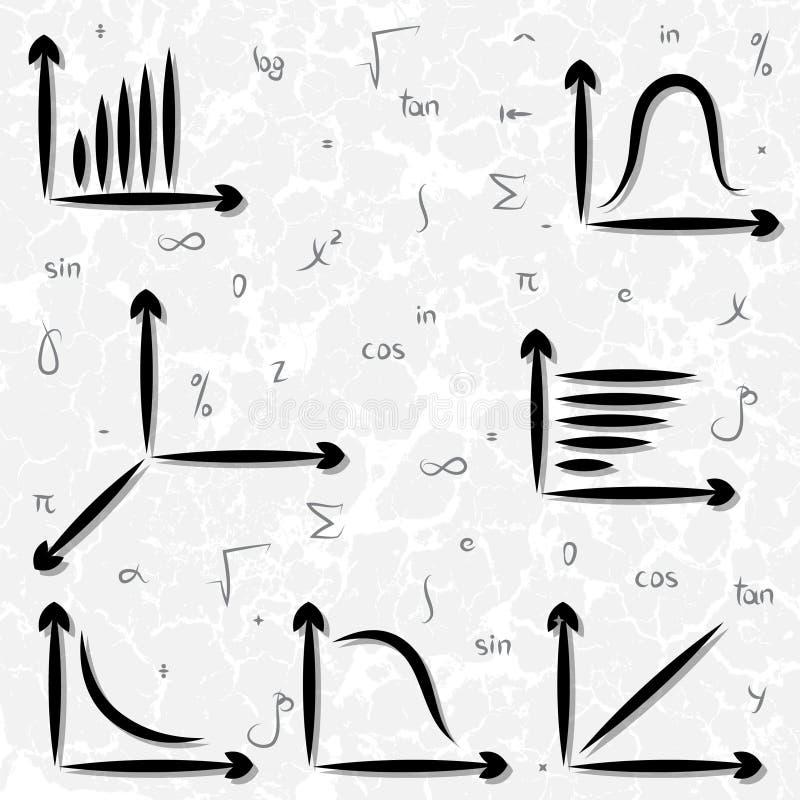 手拉的图表和数学符号 库存例证