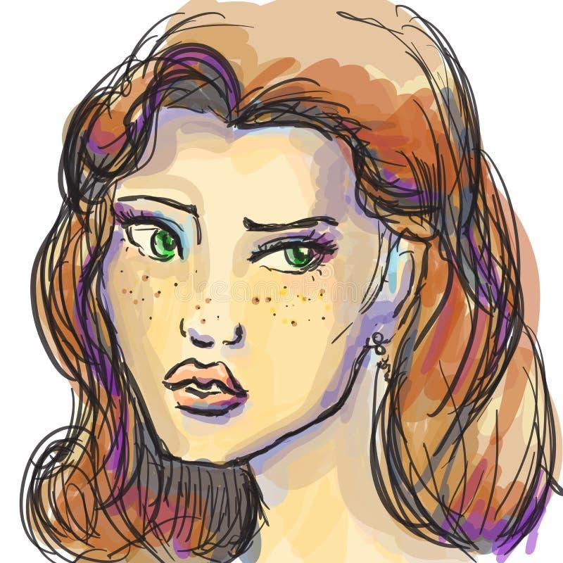 手拉的图表塑造与美丽的少妇,邀请的女孩,顶面模型的画象 库存例证