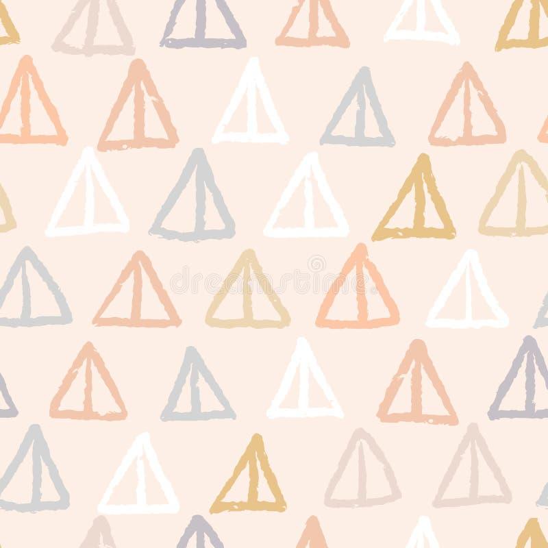 手拉的图表geo塑造无缝的样式 概略有机线,三角纹理传染媒介例证 皇族释放例证
