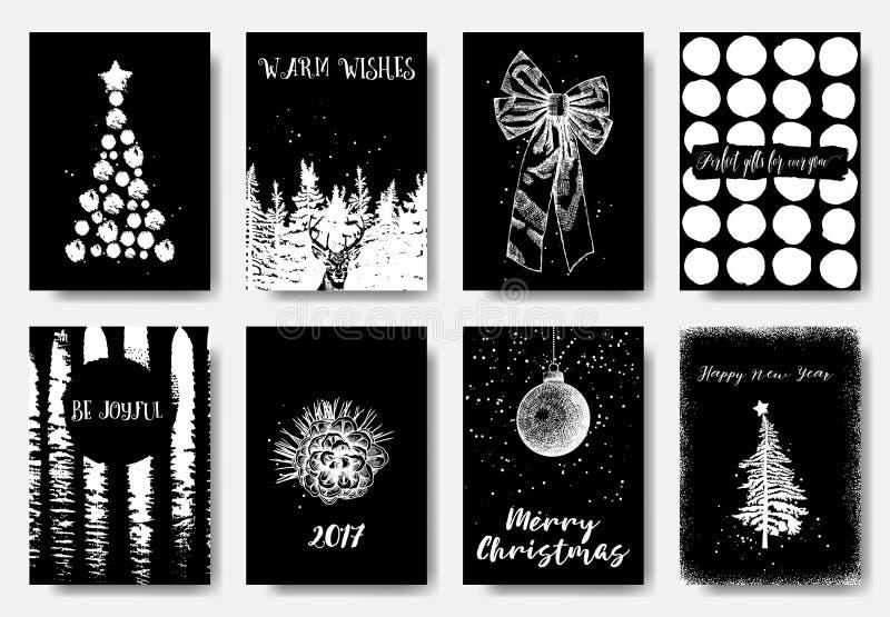 手拉的圣诞卡模板的汇集 prese的新年 向量例证