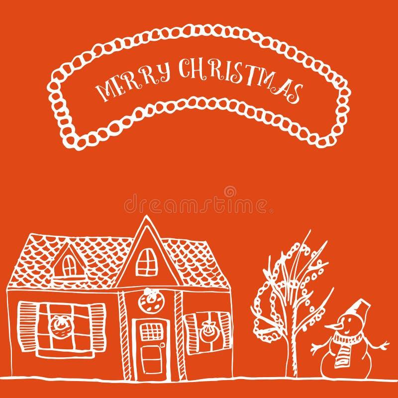 手拉的圣诞卡 免版税库存图片