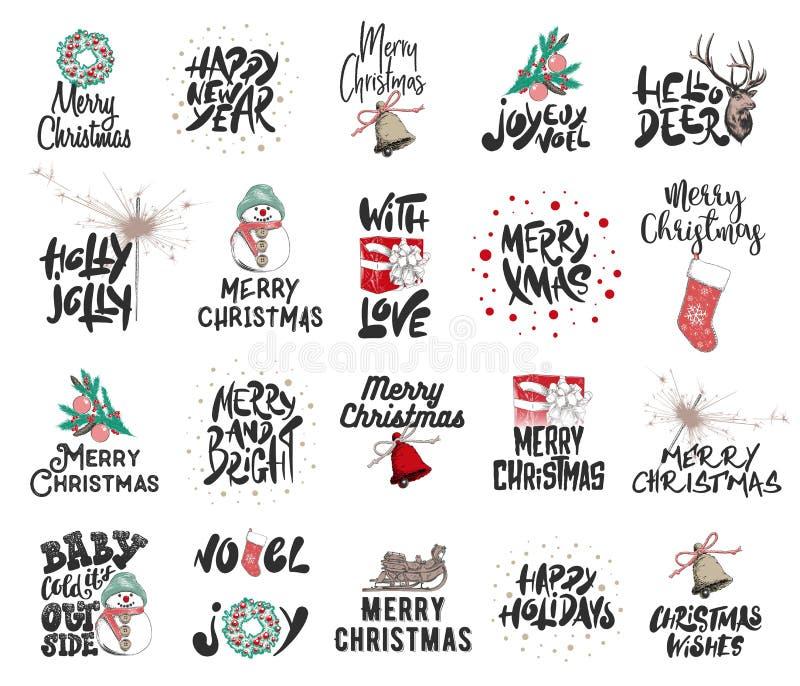 手拉的圣诞快乐和2019新年快乐白色背景的 详细的葡萄酒蚀刻图画 库存例证