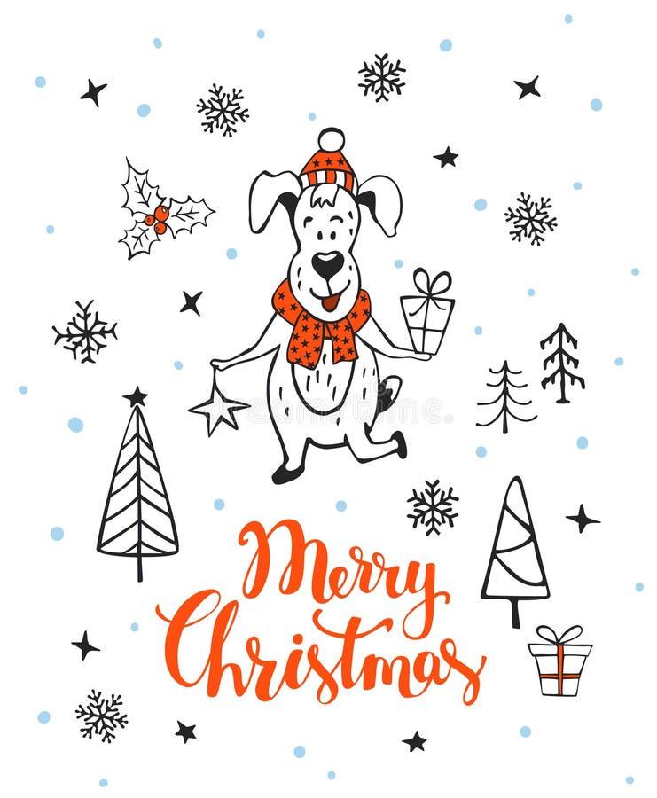 手拉的圣诞快乐新年好2018个冬天与逗人喜爱的动画片狗的贺卡背景 向量例证