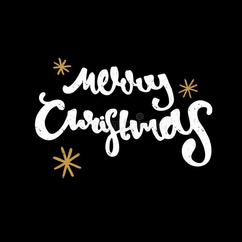 手拉的圣诞快乐 现代书法和刷子字法 黑背景葡萄酒减速火箭织地不很细 免版税图库摄影