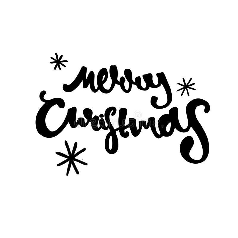 手拉的圣诞快乐 现代书法和刷子字法 库存图片