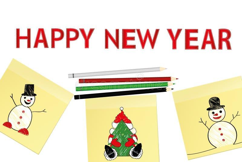 手拉的圣诞树和圣诞老人项目和雪人在三个黄色贴纸 2007个看板卡招呼的新年好 与五颜六色的铅笔的传染媒介 皇族释放例证