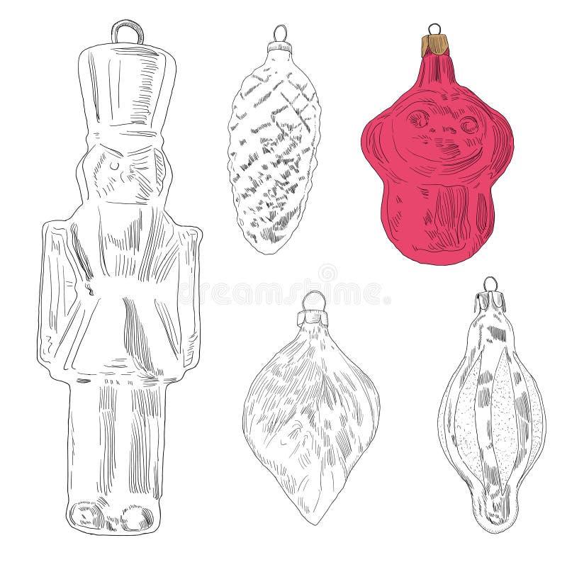 手拉的圣诞树玩具:猴子,叶子,战士,锥体 库存例证