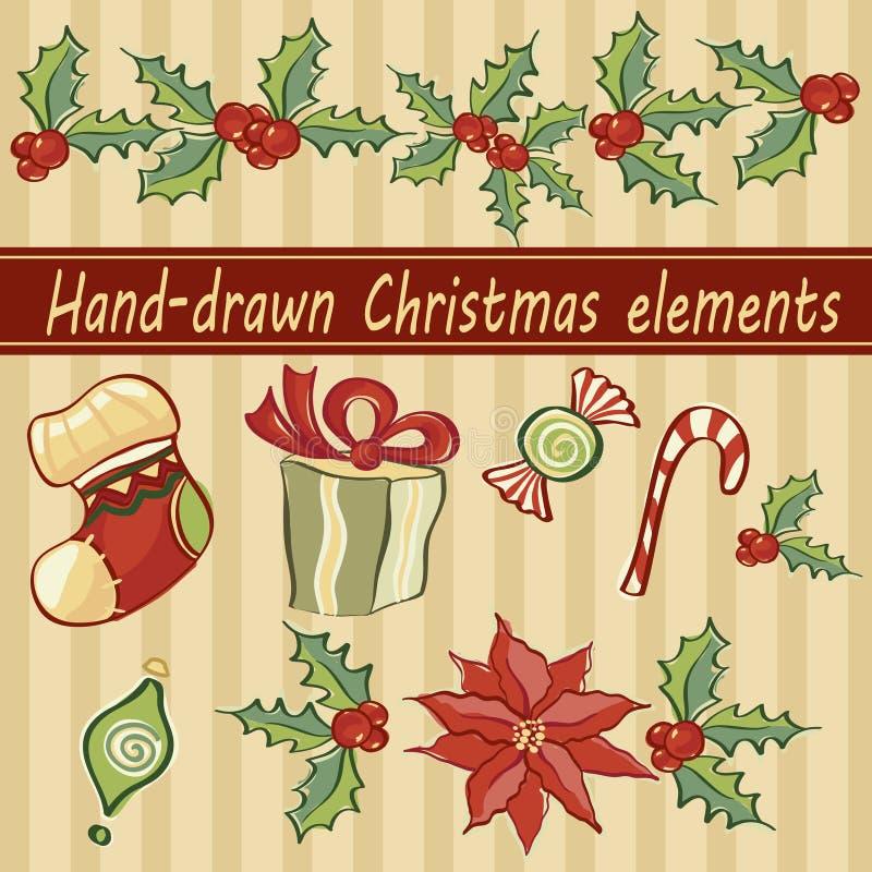 手拉的圣诞节元素 库存例证