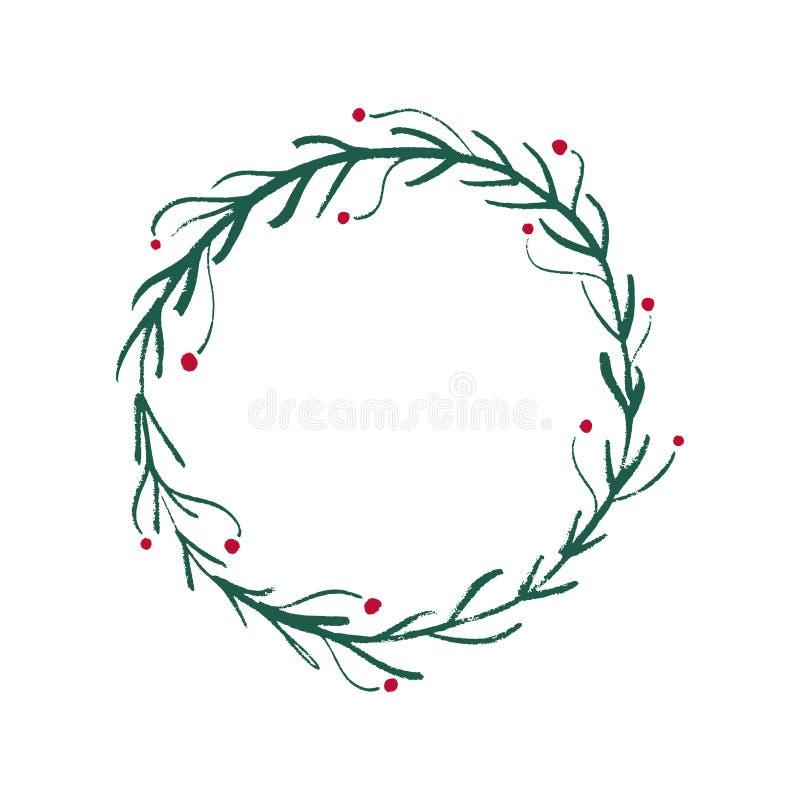 手拉的圣诞节和新年花卉框架,传染媒介艺术 皇族释放例证