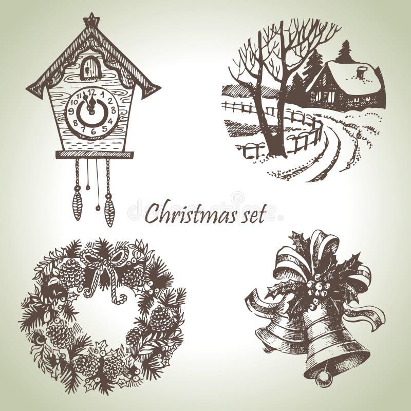 手拉的圣诞节集 库存例证