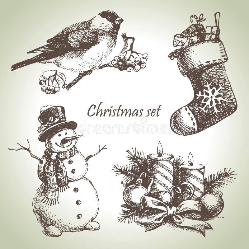 手拉的圣诞节集 向量例证