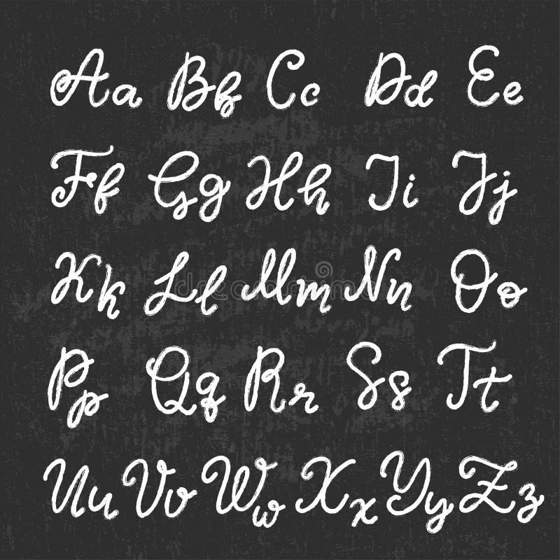 手拉的在上写字的字体,字母表 库存例证