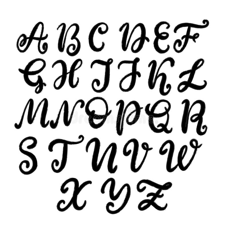 手拉的在上写字的字体,字母表 向量例证