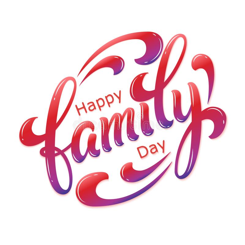 手拉的在上写字的幸福家庭天 传染媒介墨水例证 在白色背景的五颜六色的印刷术与阴影和 库存例证