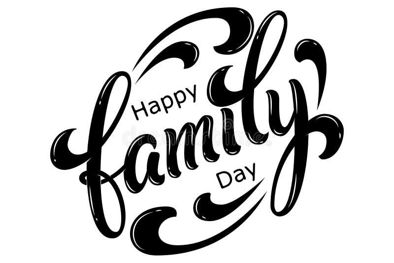 手拉的在上写字的幸福家庭天 传染媒介墨水例证 在白色背景的黑印刷术 家庭设计 向量例证