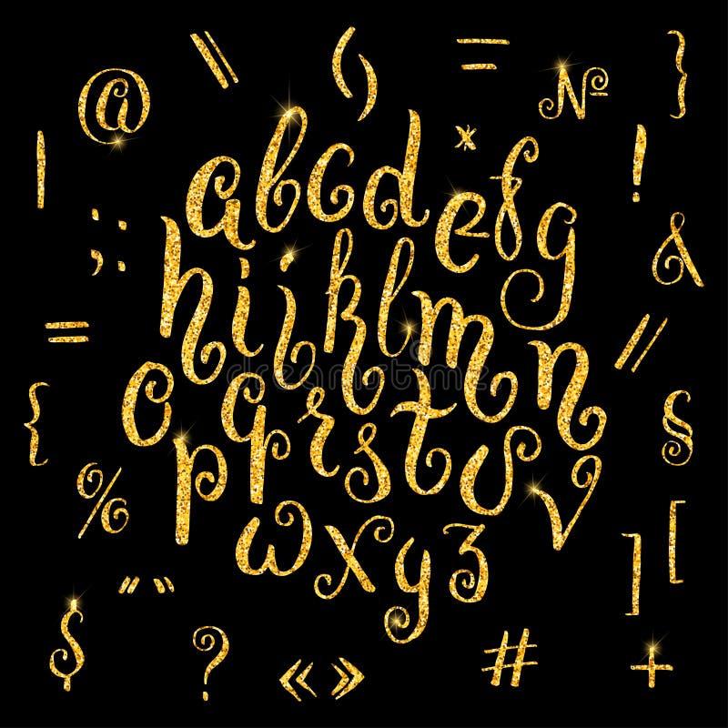 手拉的在书法刷子的闪烁金黄字母表 库存例证