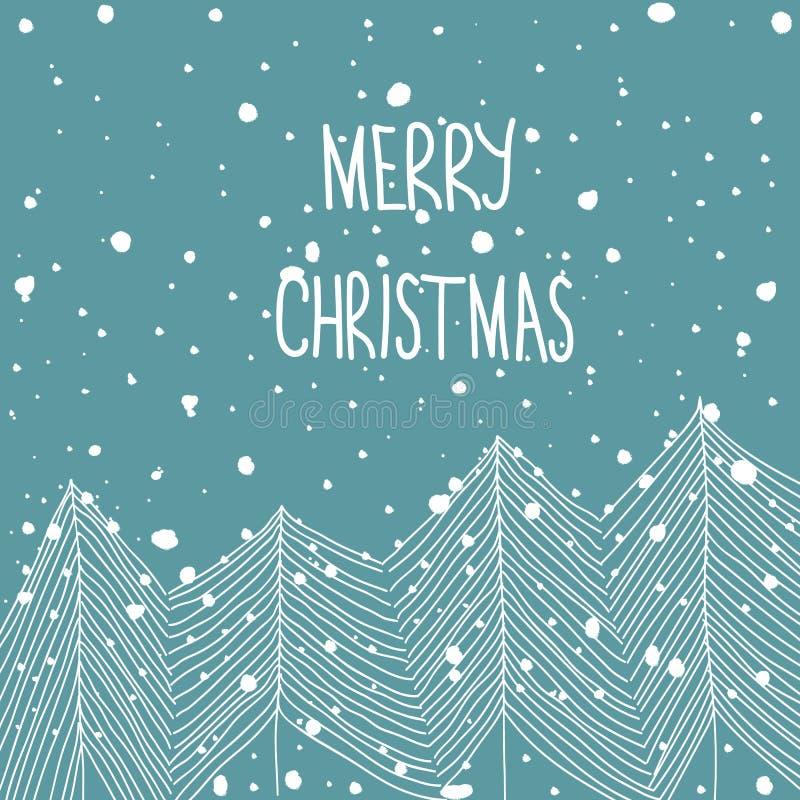 手拉的在森林降雪圣诞快乐手字法的乱画白色冷杉木 浅蓝色背景 摘要 2007个看板卡招呼的新年好 向量例证
