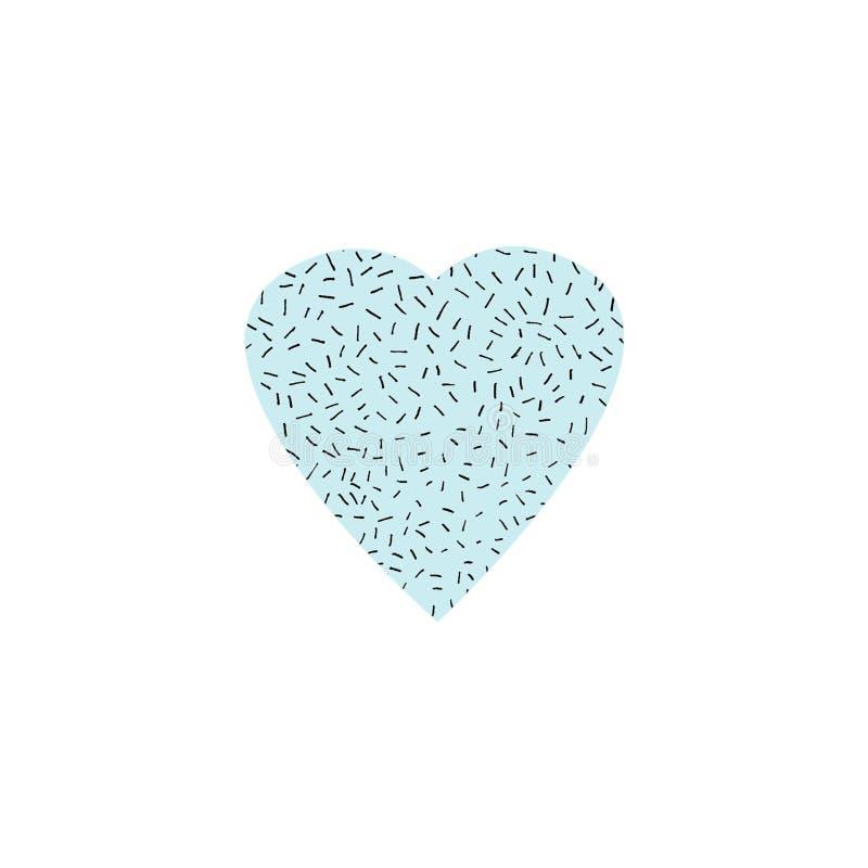手拉的在白色为情人节、母亲节或者婚礼、情感和感觉隔绝的例证图表蓝色心脏 库存例证