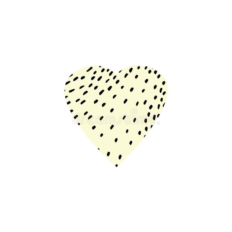 手拉的在白色为情人节、母亲节或者婚礼、情感和感觉隔绝的例证图表黄色心脏 库存例证