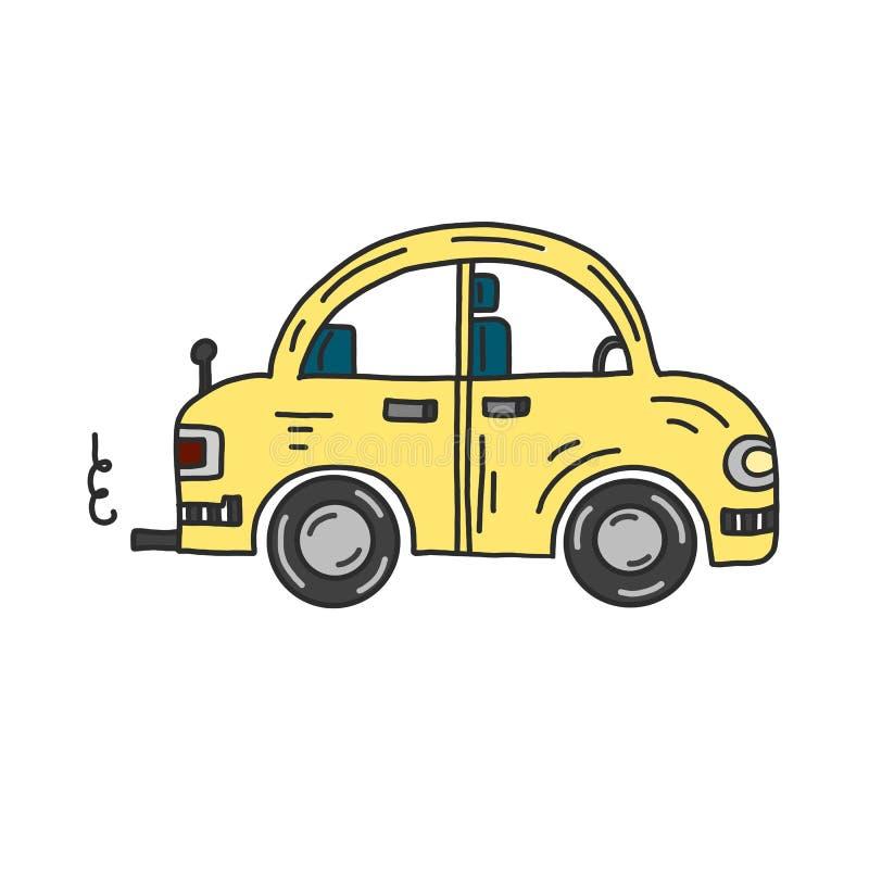 手拉的在白色背景的传染媒介黄色汽车 向量例证