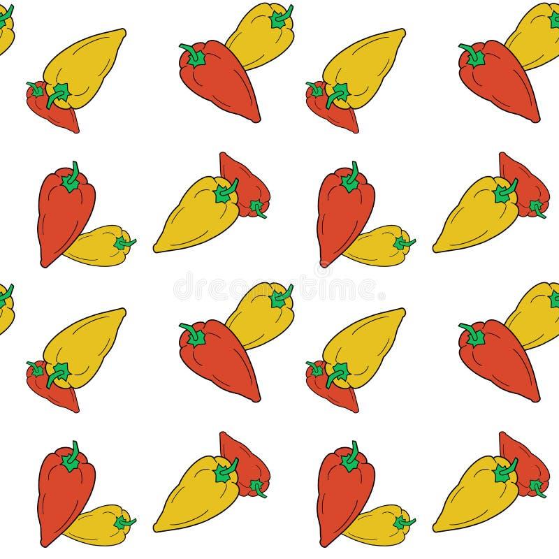 手拉的在白色背景的响铃红色和黄色胡椒无缝的样式 皇族释放例证