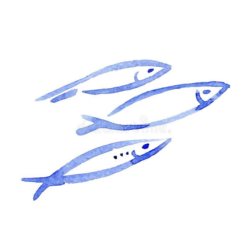 手拉的在白色背景隔绝的例证水彩蓝色鱼群 库存例证