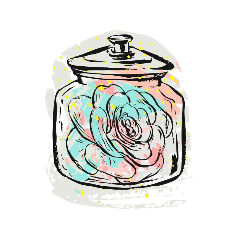 手拉的在白色隔绝的玻璃瓶子的传染媒介摘要创造性的斯堪的纳维亚图表多汁植物例证 皇族释放例证