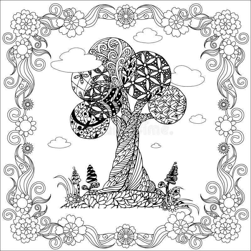 手拉的在花卉框架,储蓄传染媒介例证的禅宗缠结单色风格化树 库存例证