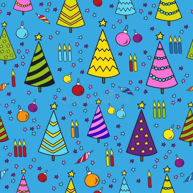 手拉的在蓝色背景的圣诞节无缝的样式 向量例证