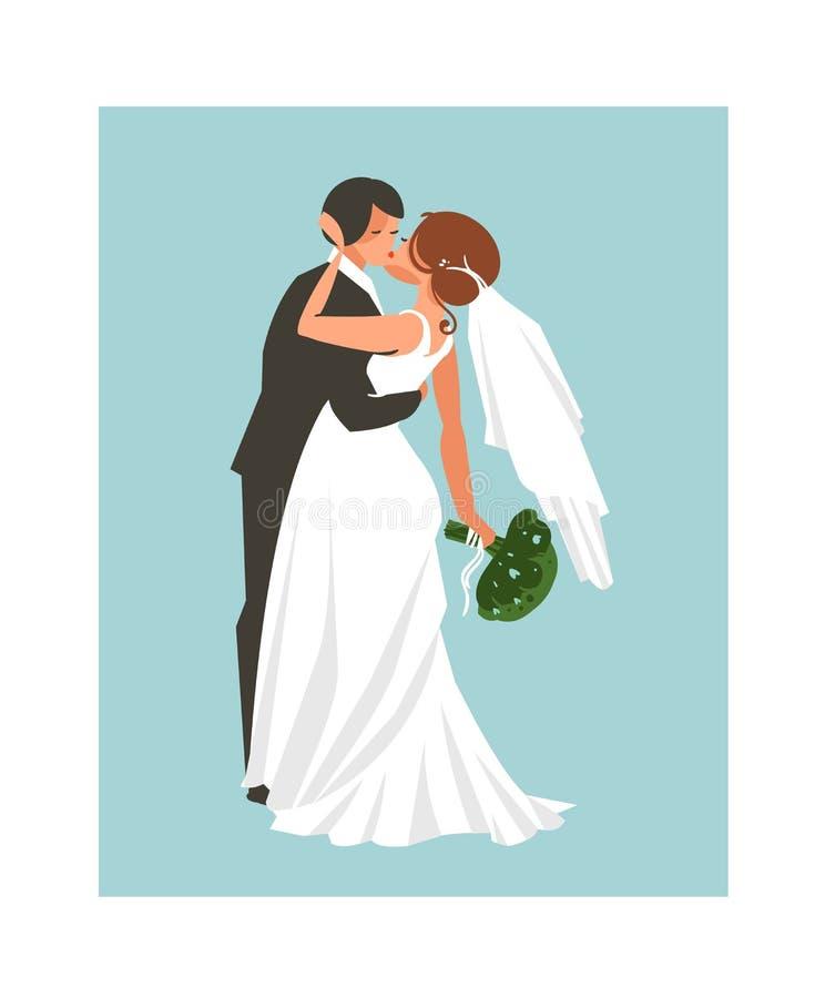 手拉的在蓝色背景隔绝的传染媒介摘要婚礼拥抱的和亲吻的夫妇例证 库存例证