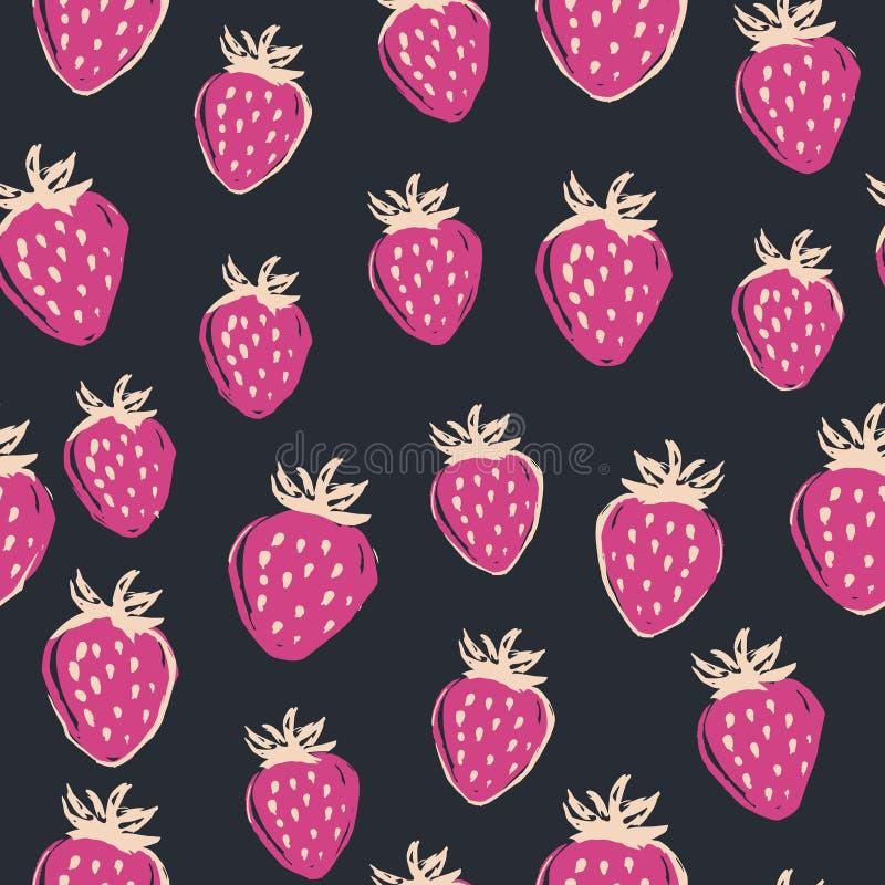 手拉的在黑板的草莓无缝的样式 导航例证,莓果背景 皇族释放例证