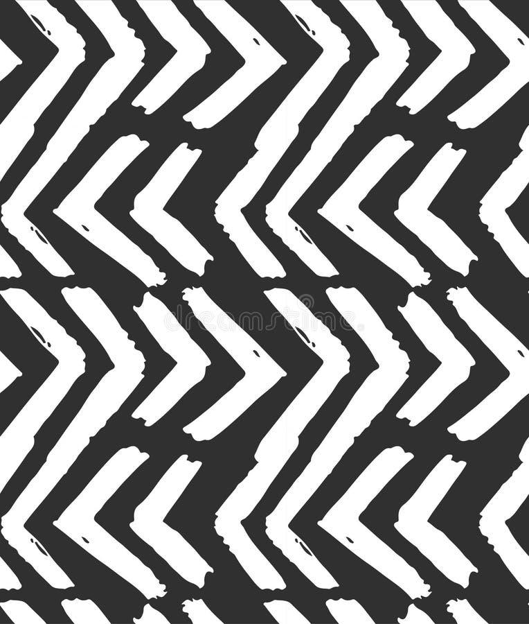 手拉的在黑白颜色的传染媒介摘要概略的几何单色无缝的之字形V形臂章样式 手 皇族释放例证