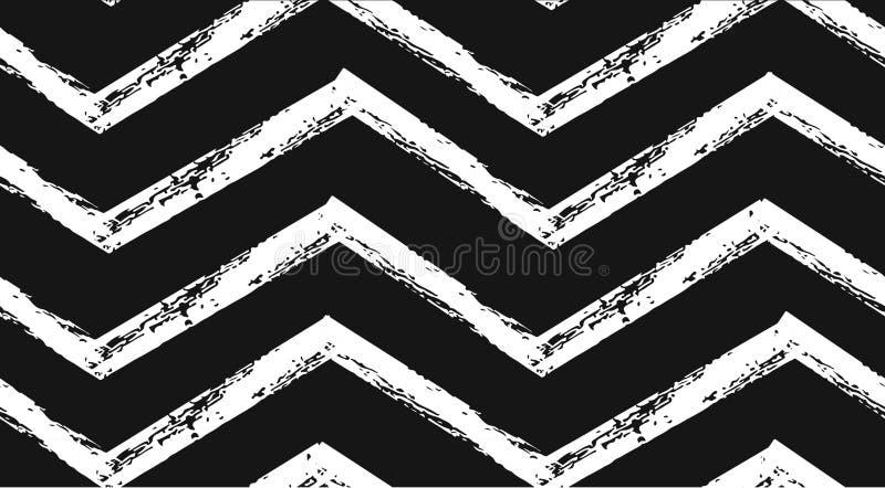 手拉的在黑白颜色的传染媒介摘要概略的几何单色无缝的之字形V形臂章样式 手 向量例证