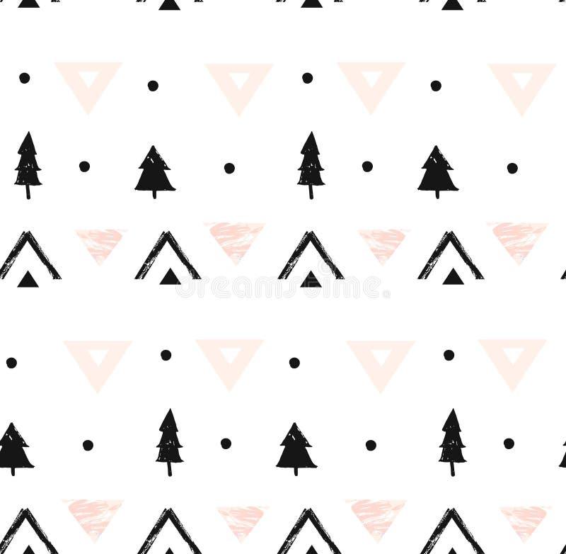 手拉的在黑,白色和粉红彩笔颜色的传染媒介摘要现代几何构成无缝的样式与 向量例证