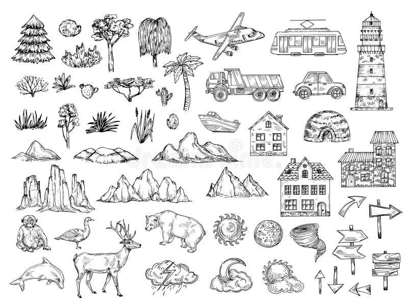 手拉的地图元素 速写小山山、树和灌木、大厦和云彩 葡萄酒板刻传染媒介标志为 向量例证