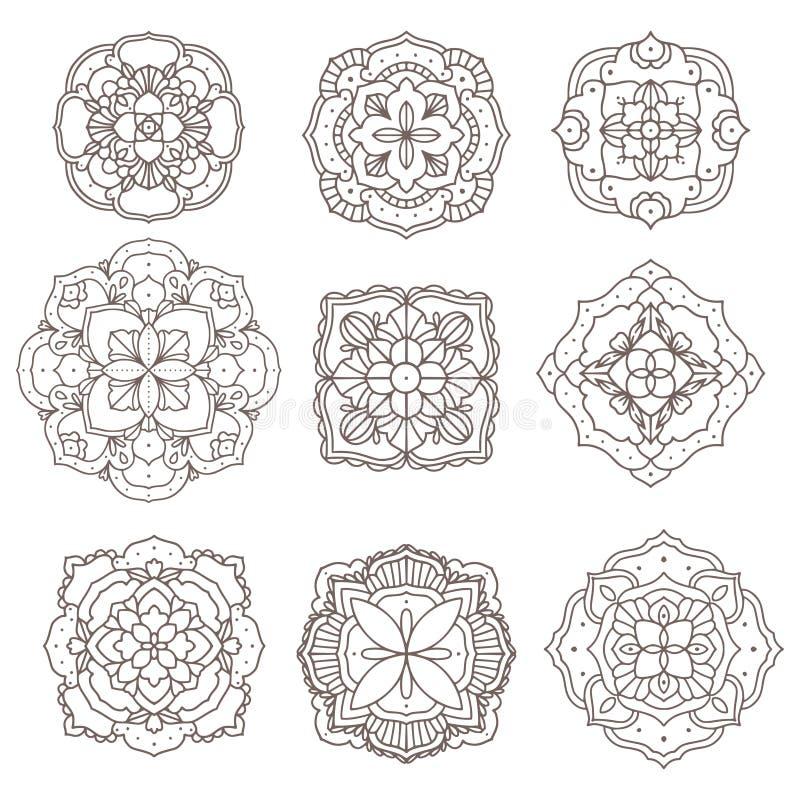 手拉的坛场设计元素组装 向量例证