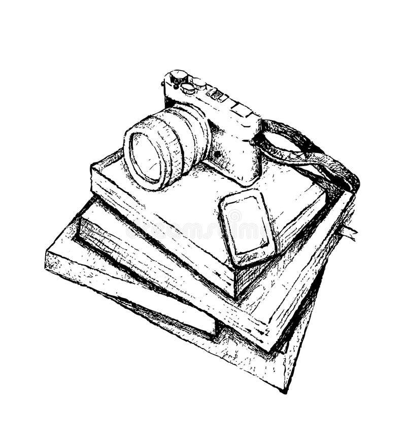 手拉的堆与聪明的电话和照相机的书 向量例证